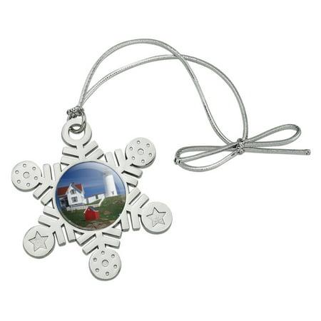 Nubble Lighthouse Maine ME Metal Snowflake Christmas Tree Holiday Ornament ()