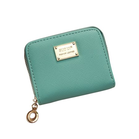 Leather Girls Wallet (Women Girl Zipper Wallet PU Leather Mini Purse for Cards Keys Coins Small Change Holding (Light Green))