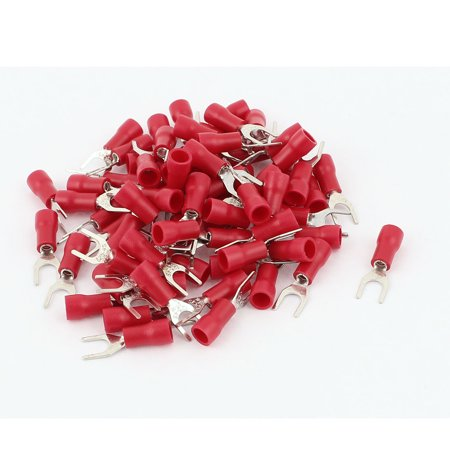 74pcs SVS1.25-4 Fork Spade Insulated Wiring Terminal Connector Red for AWG 22-16