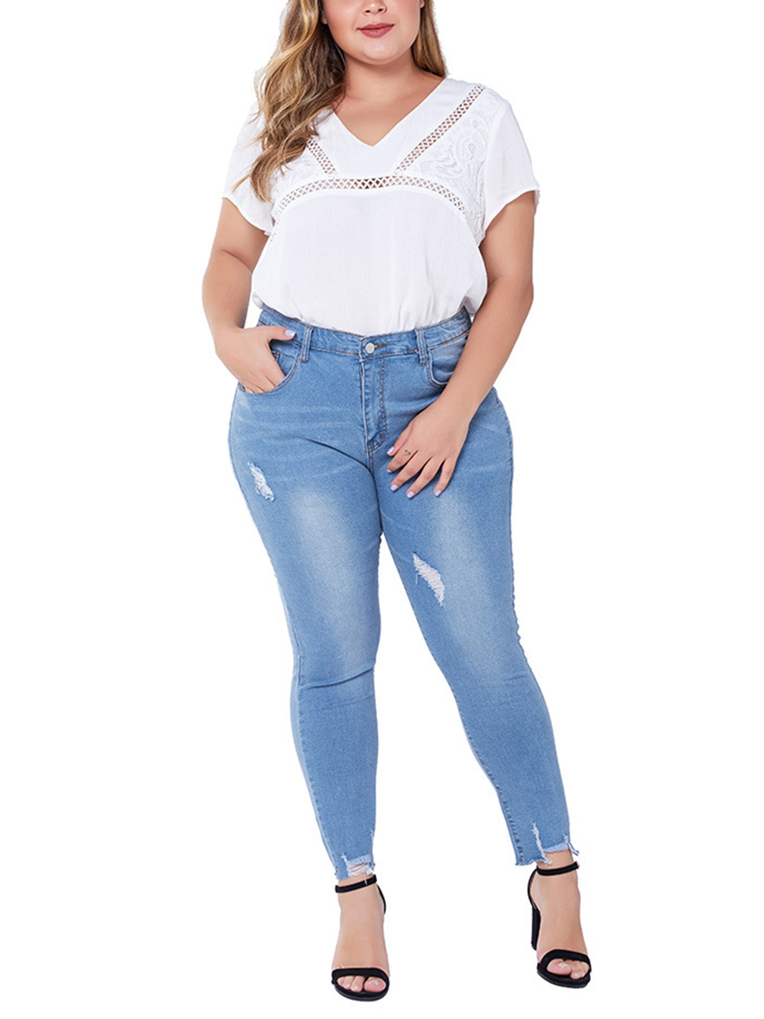 Women High Waisted Ripped Stretchy Slim Skinny Jeans Denim Jegging Pants Trouser