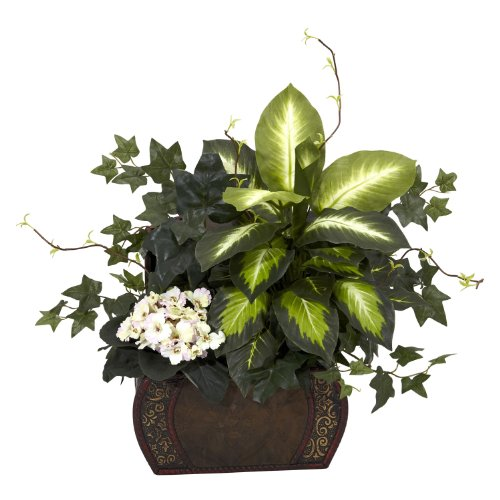 Nearly Natural African Violet, Dieffenbachia and Ivy with Chest Silk Plant