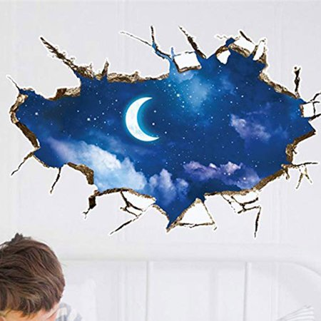 Halloween Full Moon Wallpaper (Removable 3D PVC Night Sky Moon Stars Wallpaper Self Adhesive Mural Decal Art Wall Sticker Bedroom)