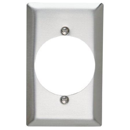 Pass and Seymour SL724 Magnetic Stainless Steel Single Gang Power Receptacle Wall Plate