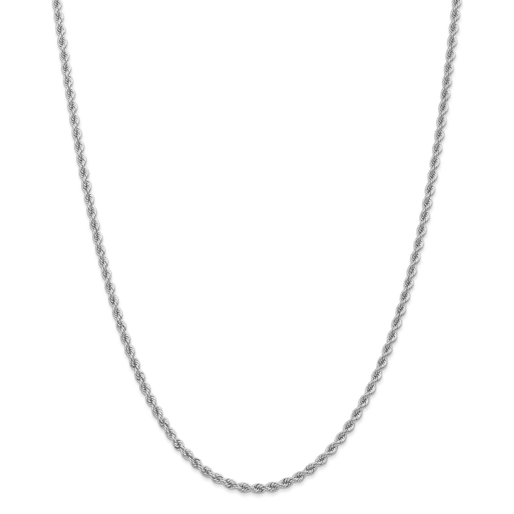 14kt White Gold 2.75mm Link Rope Chain Necklace 20 Inch Pendant Charm Fine Jewelry For Women Gift Set by IceCarats Designer Jewelry Gift USA