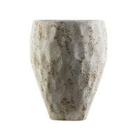 "Gray and Brown Honeycomb Style Decorative Roman Dune Ceramic Outdoor Pot 14.2"""