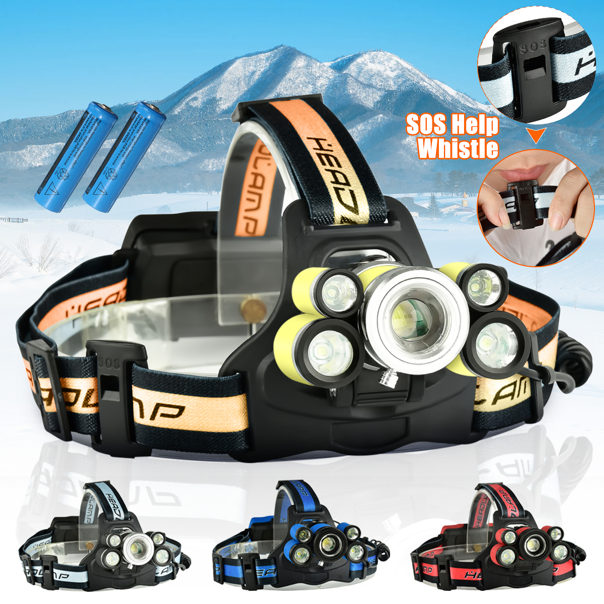 5000Lumens USB Rechargeable Headlight Headlight 5x T6 LED Head Torch 5 Modes with SOS Help Whistle for Night Light Emergency Light
