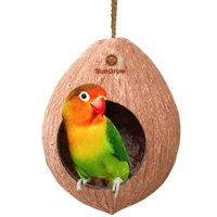 Sungrow Natural Coconut Shell Bird House - Includes Hanging Loop
