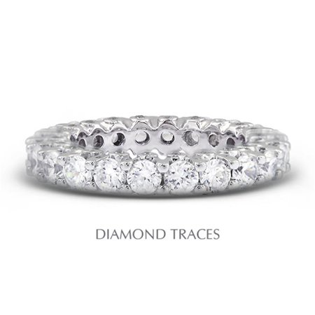 Diamond Traces UD-EWB460-8296 14K White Gold Prong & Bezel Setting, 3.79 Carat Total Natural Diamonds Modern Eternity Ring