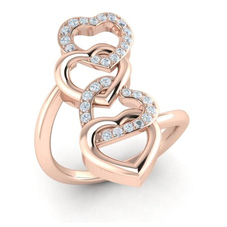 0.5carat Round Cut Diamond Prong Intertwined Interlinked Hearts Fancy Ring Bridal Anniversary Wedding Band Solid 10K Gold JK I1