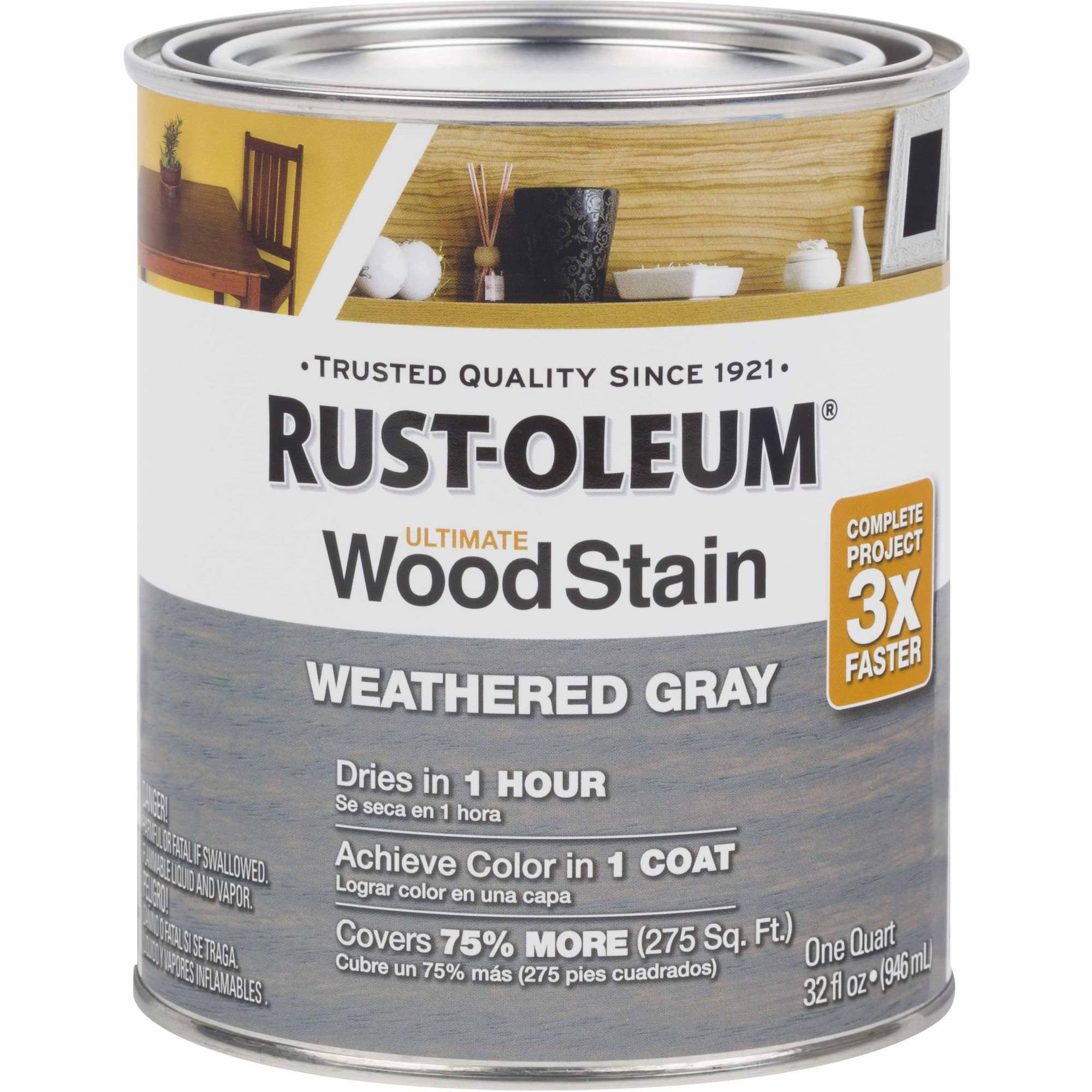 Rust-Oleum Ultimate Wood Stain Quart, Weathered Gray