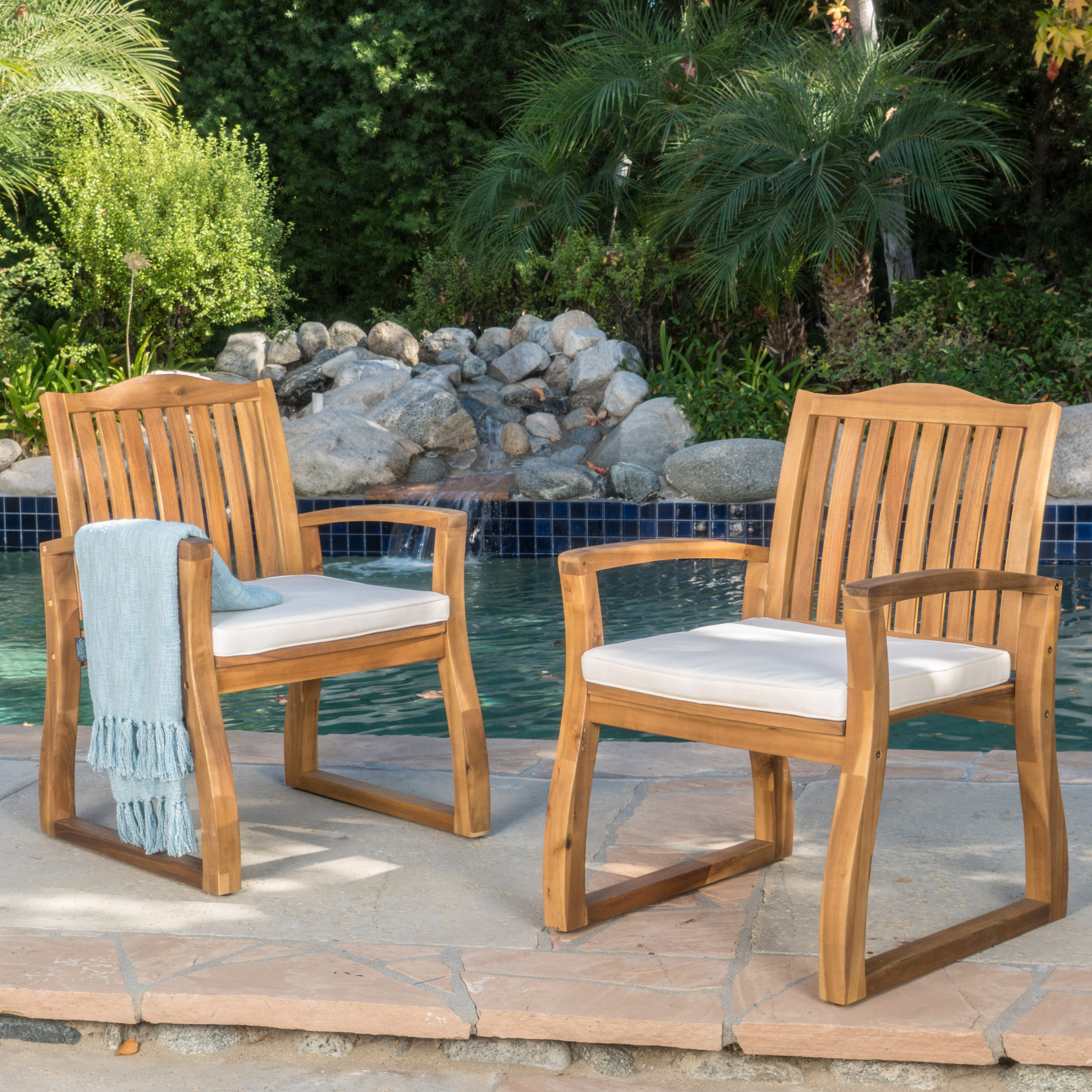Pearl Outdoor Acacia Wood Dining Chairs, Set of 2, Teak Finish by Noble House