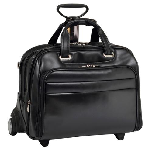 McKlein Midway Leather Checkpoint-friendly 17-inch Rolling Laptop Case Black