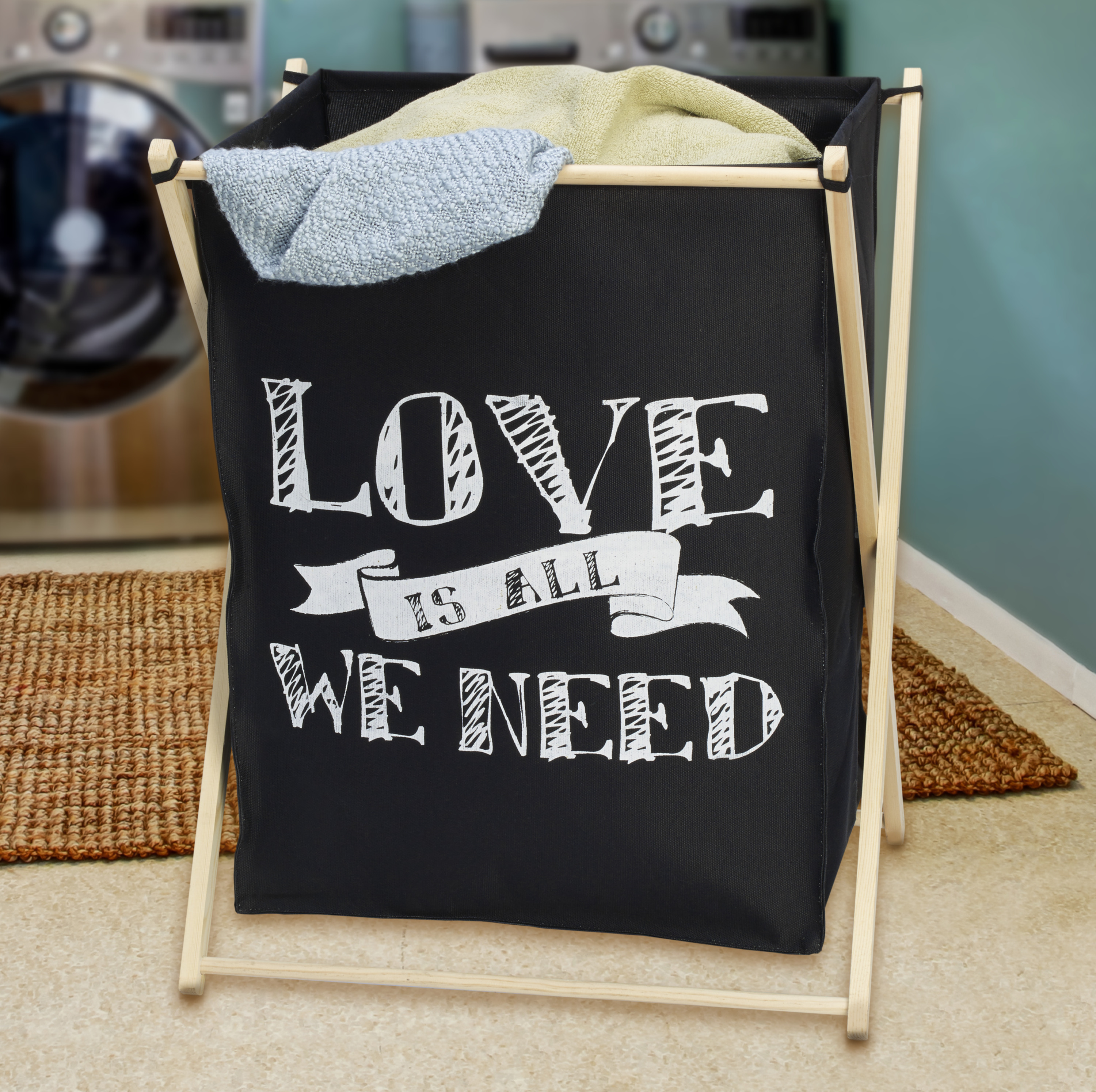 Elements Canvas Love Is All We Need Folding Laundry Bag