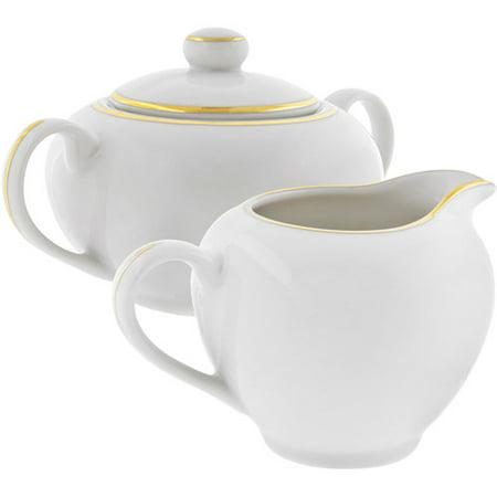 10 Strawberry Street Gold Line 8 oz Creamer and 8 oz Covered Sugar Set, White with Gold Border Gold Trim Sugar Bowl