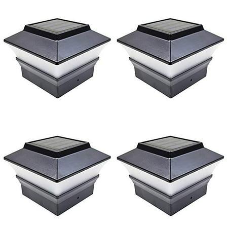 4 Pack Black Outdoor Garden 4 x 4 Solar LED Post Deck Cap Square Fence Light Landscape Lamp Lawn Wood ()
