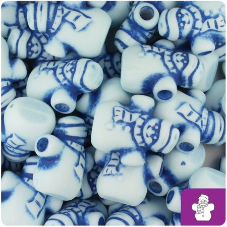 BeadTin White with Blue Antique 22mm Snowman Pony Beads (24pcs)