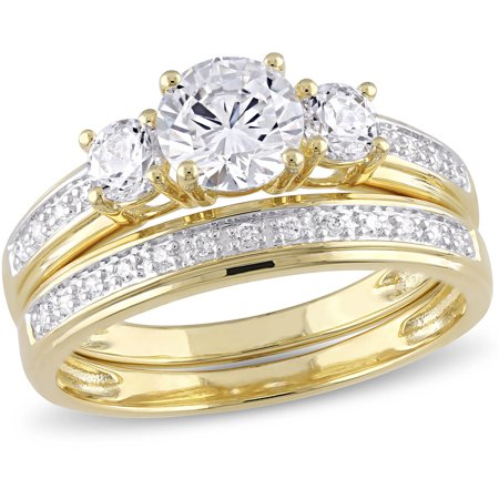 2-1/5 Carat T.G.W. CZ Yellow Rhodium-Plated Sterling Silver Three-Stone Bridal Set