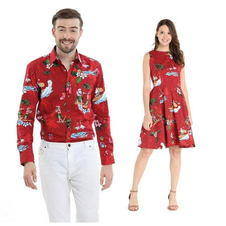 Couple Matching Hawaiian Luau Cruise Outfit Shirt Vintage Dress Christmas Santa in Hawaii Red Men XL Women L Cruise Top Shirt