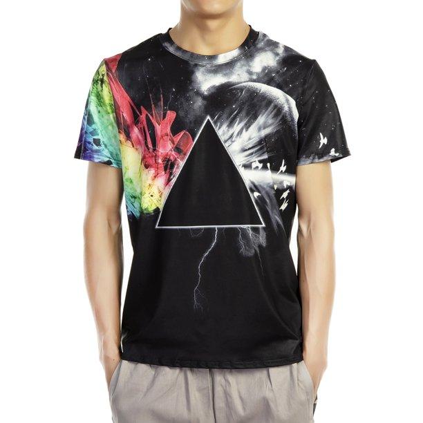 LELINTA Mens Summer Casual Short Sleeve Star 3D Print T-Shirt