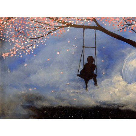CANVAS Almond Blossom Tree Swing by Ed Capeau 24x18 Graphic Art on Wrapped Canvas