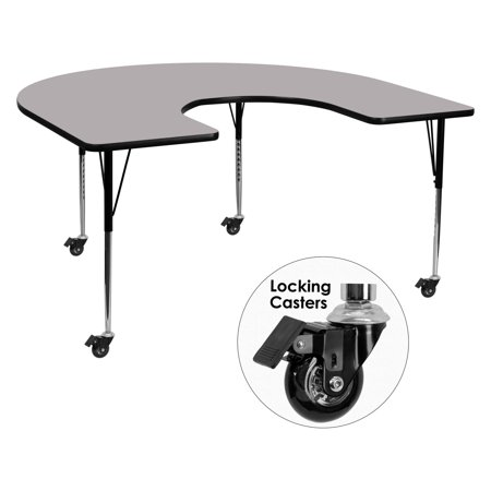 - Flash Furniture Mobile 60''W x 66''L Horseshoe Shaped Activity Table with Grey Thermal Fused Laminate Top and Standard Height Adjustable Legs