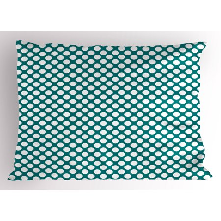 Teal Pillow Sham Polka Dotted Pattern Traditional Style European Inspired and Vibrant Colored Image, Decorative Standard Size Printed Pillowcase, 26 X 20 Inches, Teal White, by Ambesonne ()