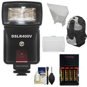 Precision Design DSLR400V High Power Auto Flash with LED Video Light + Batteries & Charger + Reflectors + Backpack Kit for Canon EOS 6D, 7D, 80D, 5D Mark II III, Rebel T5, T5i, SL1, T6, T6i, T6s