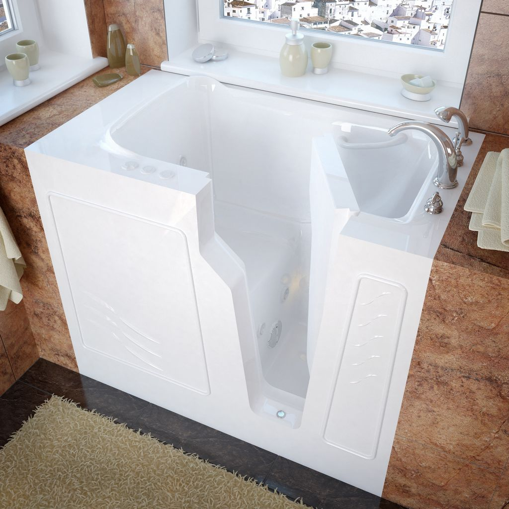 Meditub 26x46 Right Drain White Whirlpool Jetted Walk-In Bathtub
