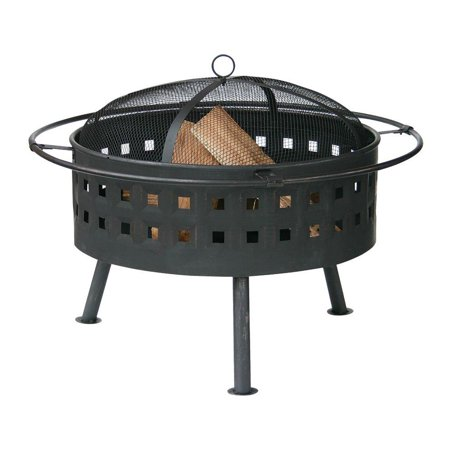 UniFlame 24 Inch Wood Burning Aged Bronze Steel Deep Bowl Fire Pit WAD997SP