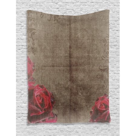 Victorian Artwork (Victorian Decor Wall Hanging Tapestry, Decorative Artwork With Roses Ornamental Frame Image Nostalgic Vintage Style, Bedroom Living Room Dorm Accessories, By Ambesonne )
