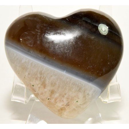"""2.9"""" Beautiful Multicolor Agate Puffy Heart Polished Natural Mineral Crystal Stone Specimen India + Acrylic Display Stand"""