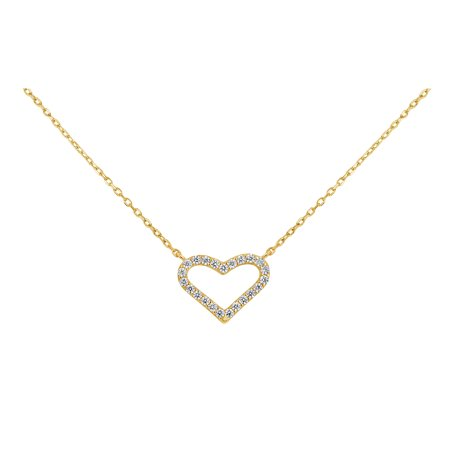18k Gold Over Sterling Silver White Cubic Zirconia Open Heart Necklace 18 (Cubic Zirconia Open Heart Pendant)