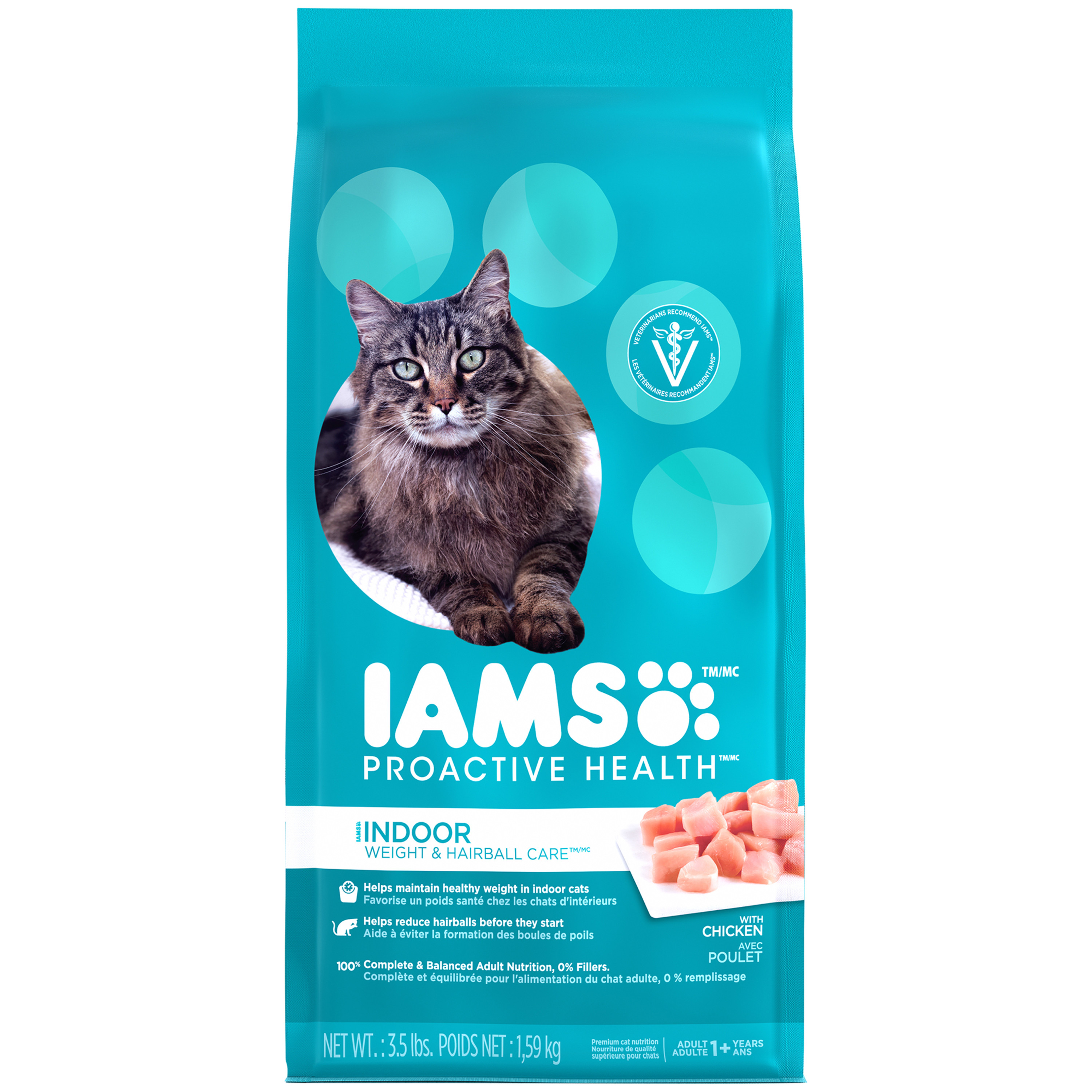IAMS PROACTIVE HEALTH INDOOR WEIGHT and HAIRBALL CARE Dry Cat Food 3.5 Pounds by Mars Petcare
