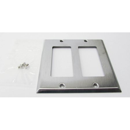 (Mulberry 97402 Two Gang Wallplate 2 Decorator / GFI, Stainless Steel,)