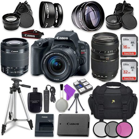 Canon EOS Rebel SL2 Digital SLR Camera with Canon EF-S 18-55mm IS STM Lens + Tamron Zoom Telephoto AF 70-300mm f/4-5.6 Autofocus Lens + Accessory Bundle Autofocus Zoom Lens Digital Camera