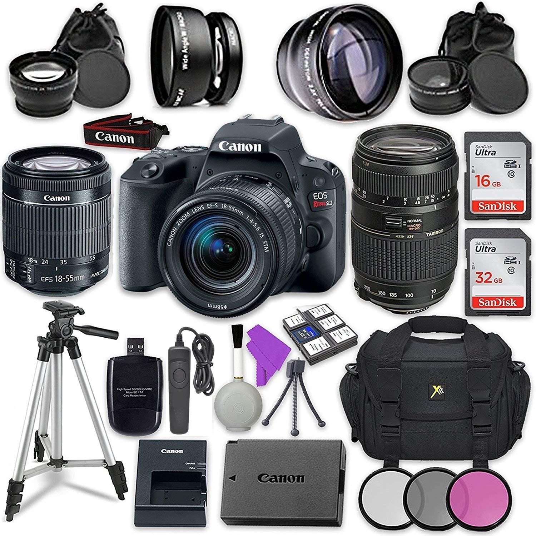Canon EOS Rebel SL2 Digital SLR Camera with Canon EF-S 18-55mm IS STM Lens + Tamron Zoom Telephoto AF 70-300mm f/4-5.6 Autofocus Lens + Accessory Bundle