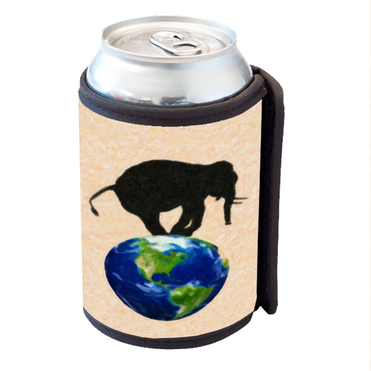 KuzmarK Insulated Drink Can Cooler Hugger - Elephant Wildlife Earth Painting