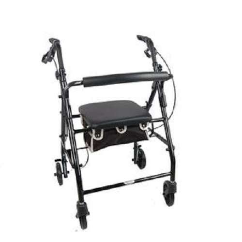 Aluminum Rollator Rolling Walker with Medical Curved Back Soft Seat Light Weight Black
