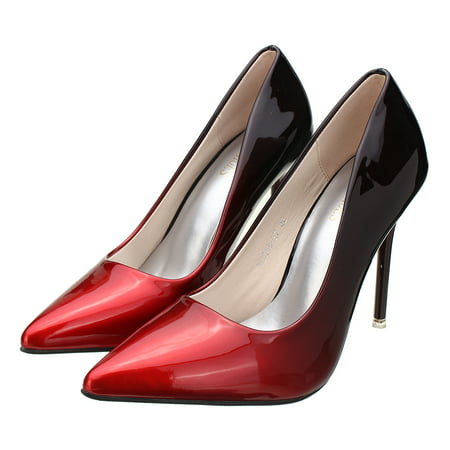 Office Lady Leather Pointed Toe Party Pumps Slim High Heel Stilettos Shoes