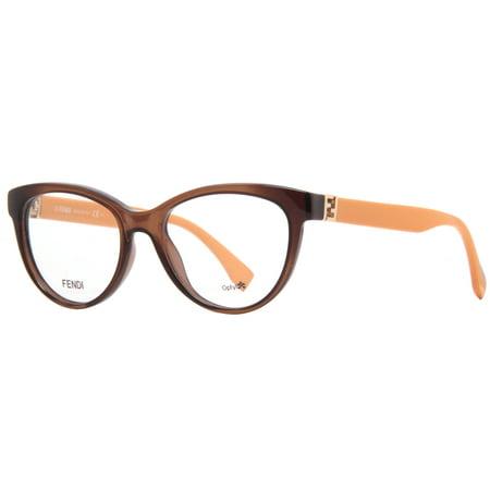 Fendi Ff 0008 7Qq Transparent Brown Yellow Cat Eye Womens Eyeglasses