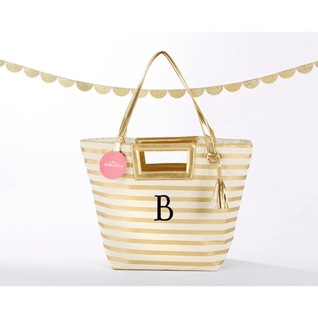 Striped Metallic Gold Tote With Tassel