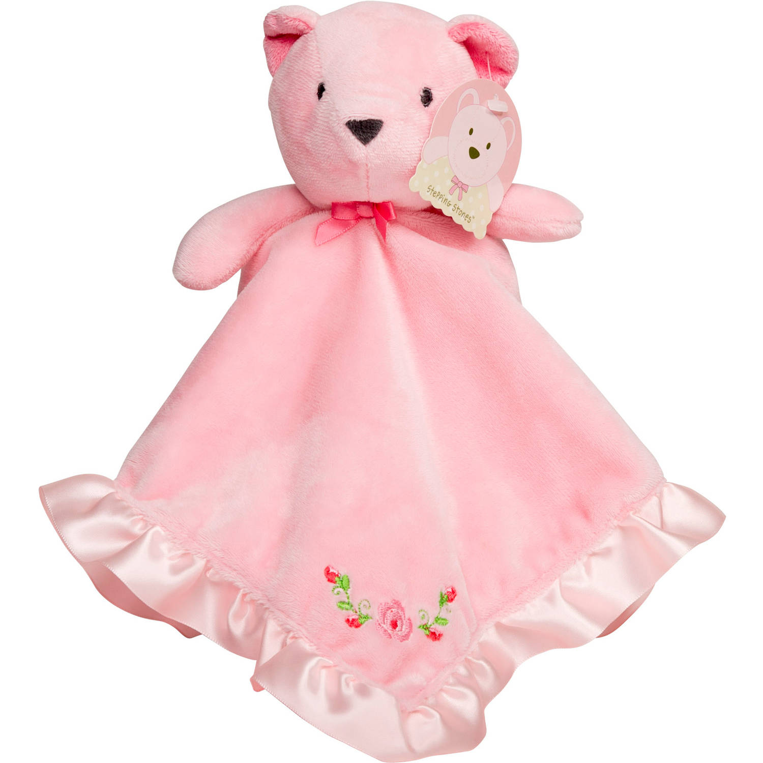 Stepping Stones by C.R. Gibson. Pink Bear Plush Snuggle Blanket