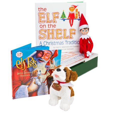 The Elf on the Shelf: A Christmas Tradition - Blue Eyed North Pole Elf Boy with Elf Pets: A Saint Bernard Tradition - Small Christmas Elves