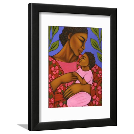 African Mother and Baby Mother and Child Figurative Culture Painting Framed Print Wall Art By Tamara Adams