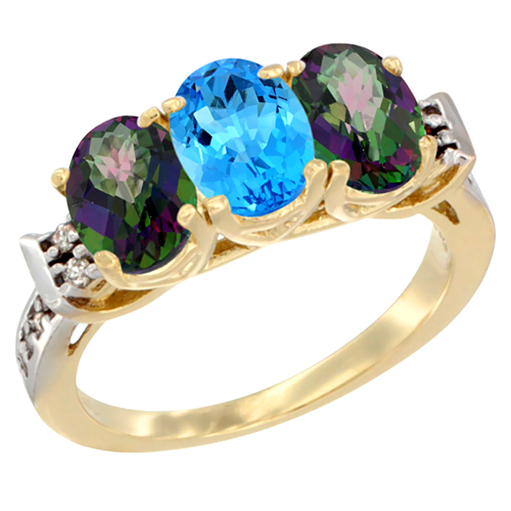 10K Yellow Gold Natural Swiss Blue Topaz & Mystic Topaz Sides Ring 3-Stone Oval 7x5 mm Diamond Accent, sizes 5 10 by WorldJewels