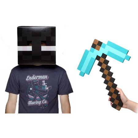 Enderman Costumes (Minecraft Enderman Head & Diamond Pickaxe Costume)