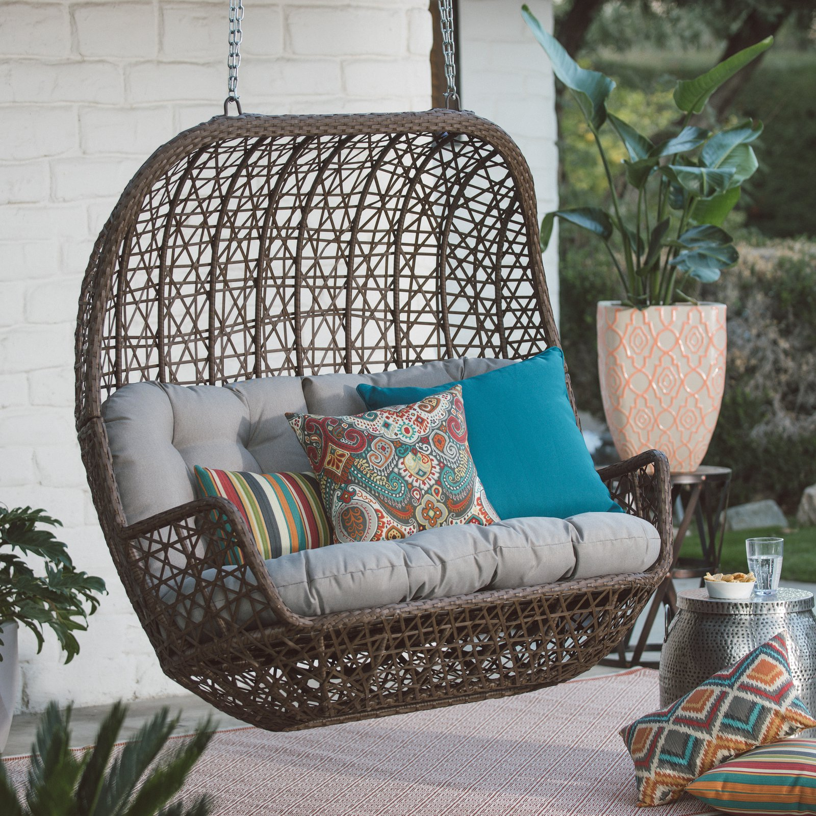 Belham Living Rayna All Weather Wicker Loveseat Porch Swing with Cushion by