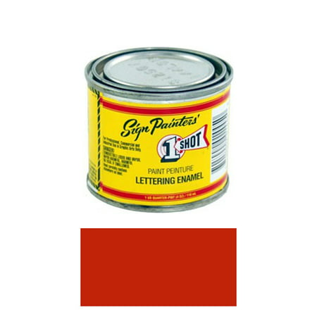14 Pint 1 Shot BRIGHT RED Paint Lettering Enamel