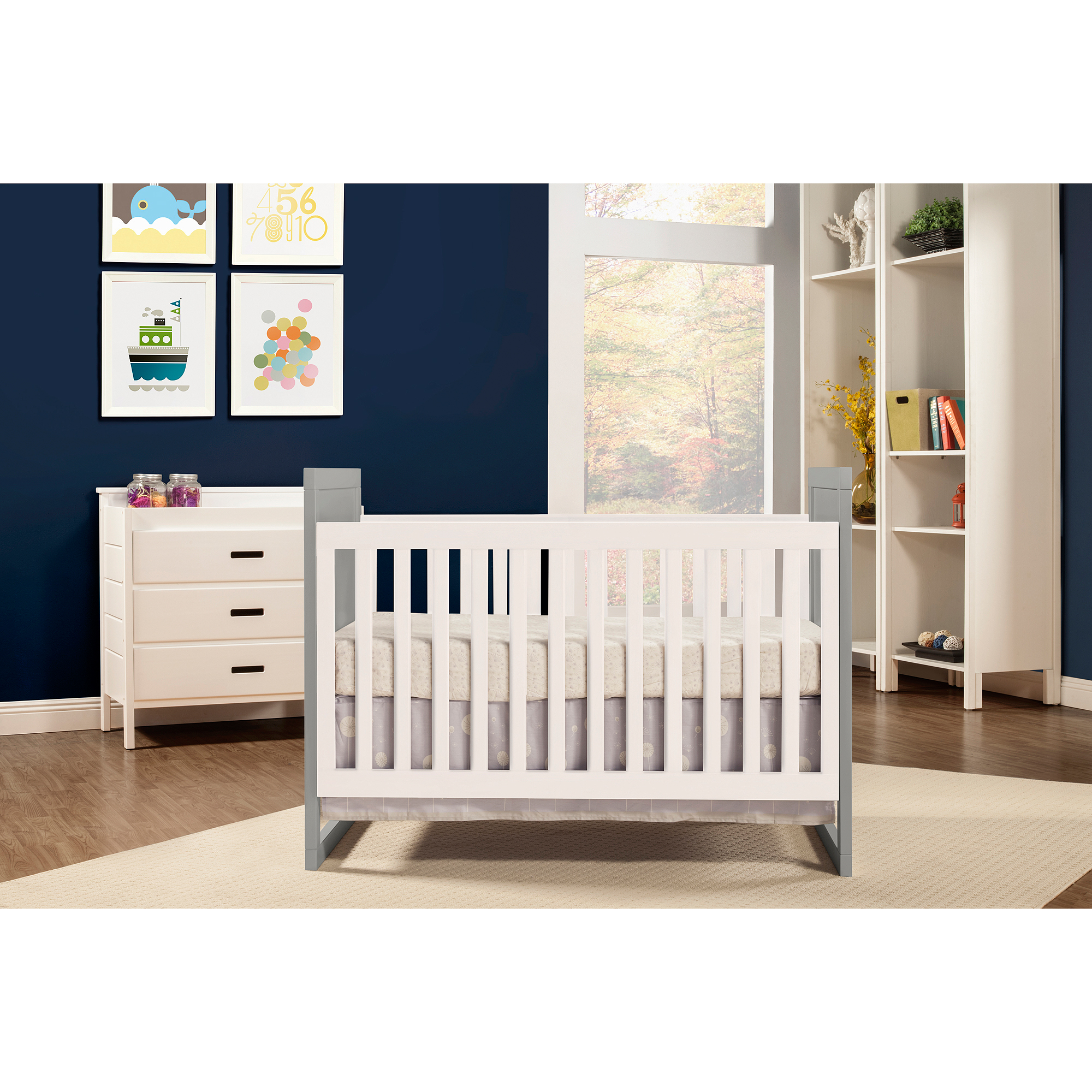 Baby Mod Modena Mod Two Tone 2 In 1 Convertible Crib Gray And White    Walmart.com