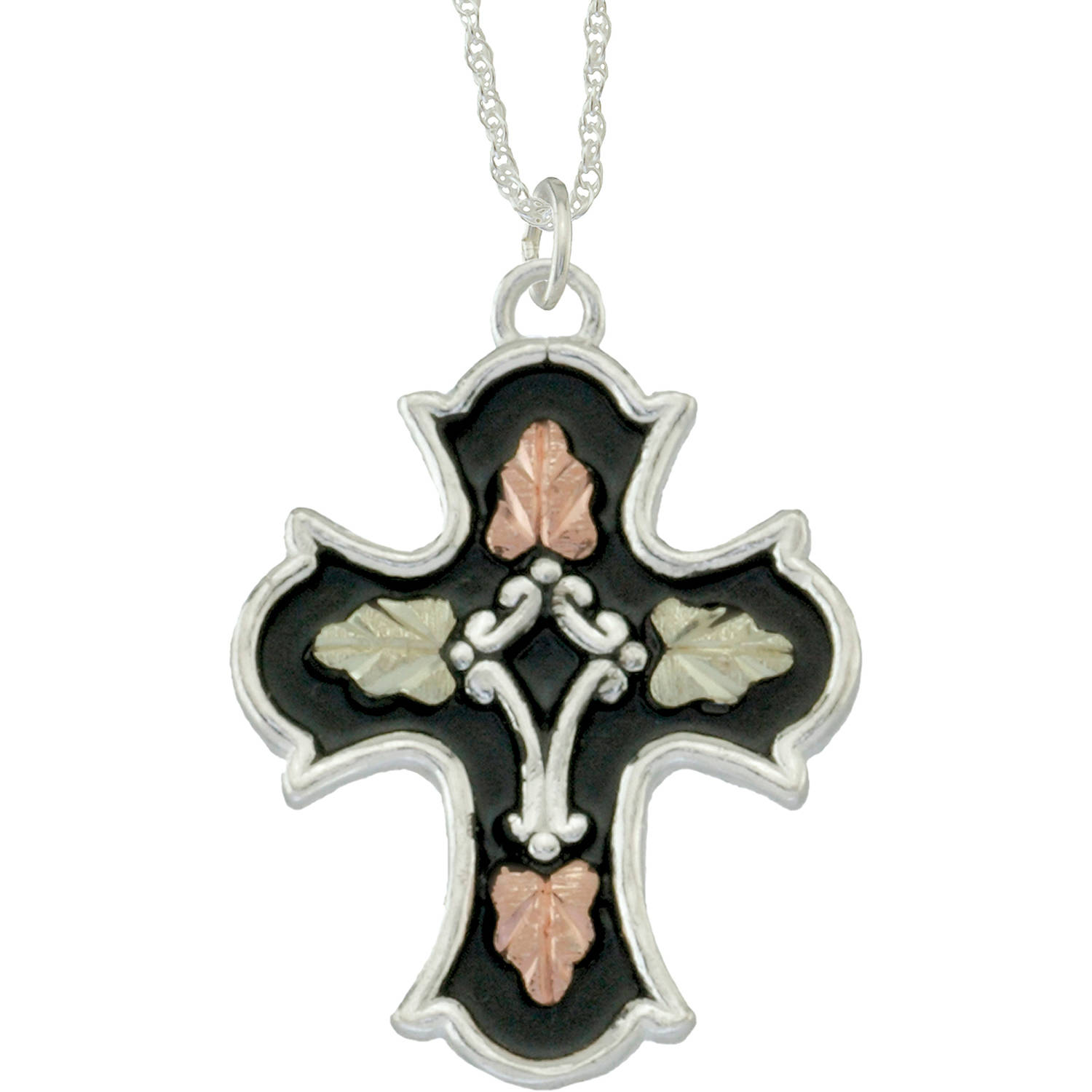 Black Hills Gold Jewelry by Coleman Co. 10kt and 12kt Black Hills Gold and Sterling Silver Antiqued Cross Pendant, 18""